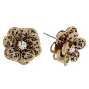 Jewelry - Leopard Print Flower Stud Earrings